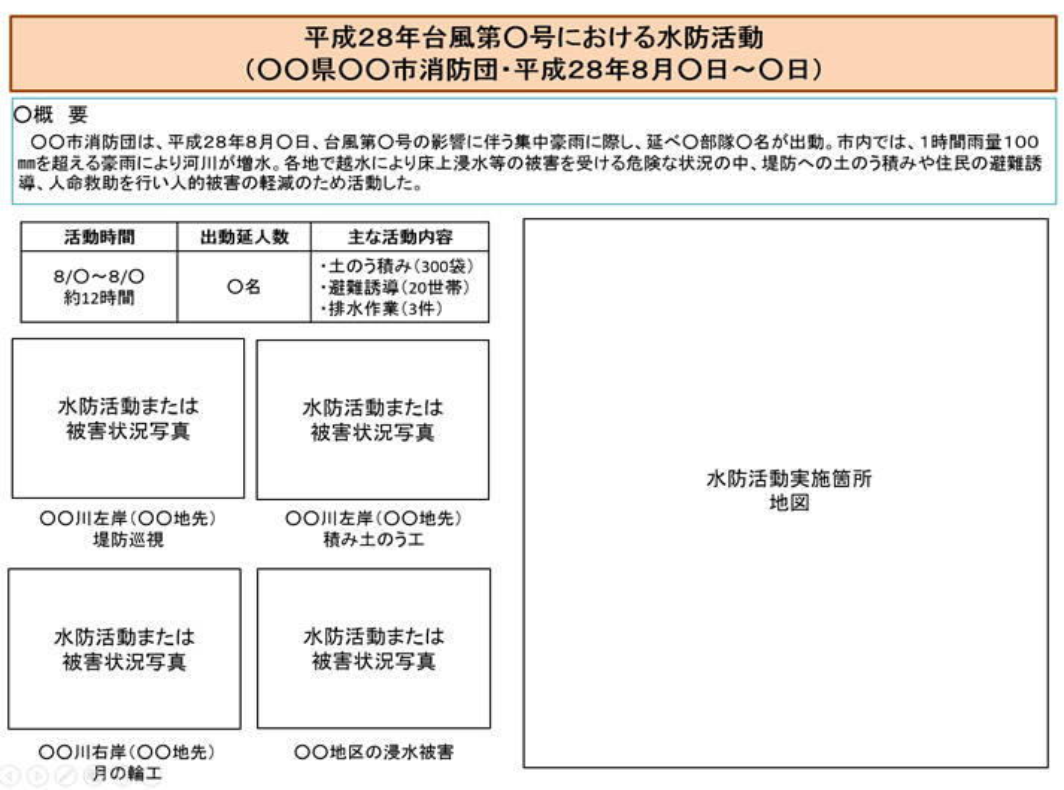 資料14-2 水防活動報告書様式(例)